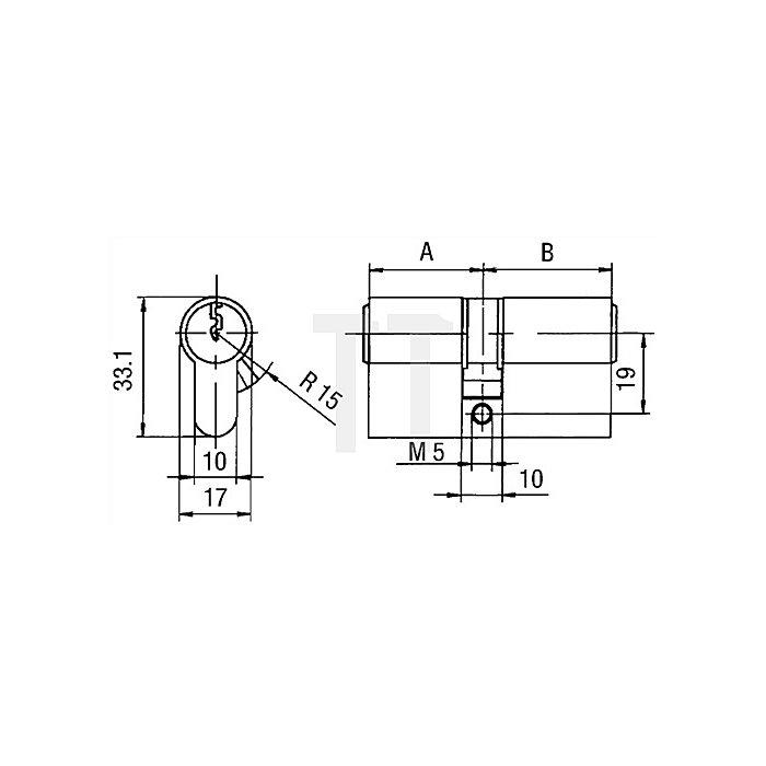 Profil-Doppelzylinder PZ 8812 DIN 18252 Kl. P 2 L. A 45mm L. B 65mm Massiv Ms.