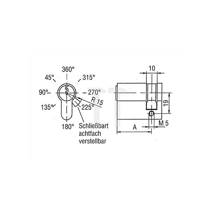 Profil-Halbzylinder B 8891 0106 L. 50mm Messing vernickelt Servicezylinder