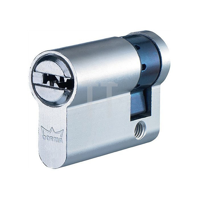 Profil-Halbzylinder DEC261 1303 L. A 35mm L. B 10mm Messing matt vernickelt