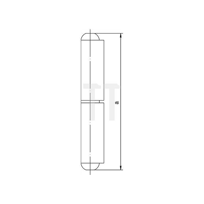 Profilrolle KO 40 Band-L.100mm Rollen-D.16mm m.festem Stahlstift-D.10mm