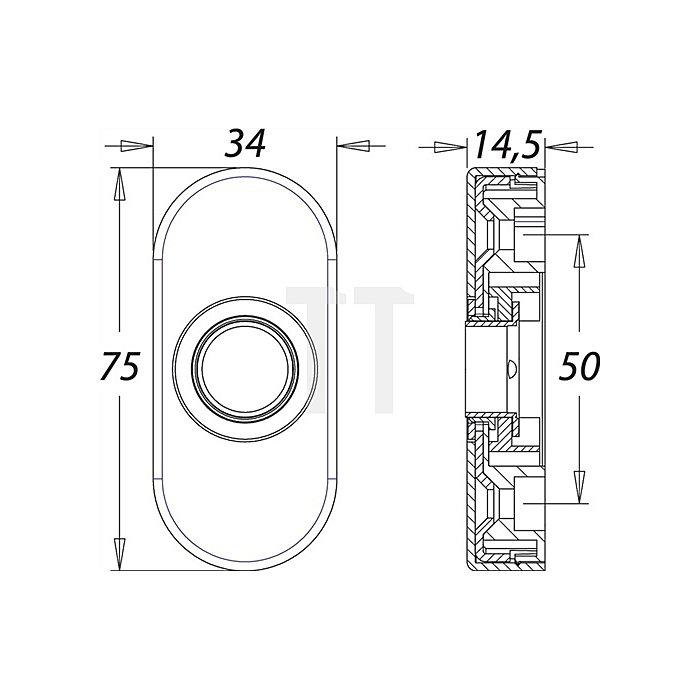 Profiltür-Drückerrosette f. Rahmentüren H. 65mm B. 25mm Alu F1 naturfarbig