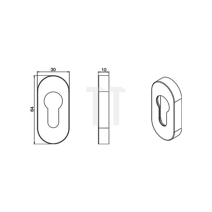 Profiltür-Schlüsserosette f. Rahmentüren H. 70mm B. 32,5mm Alu F1 naturfarbig