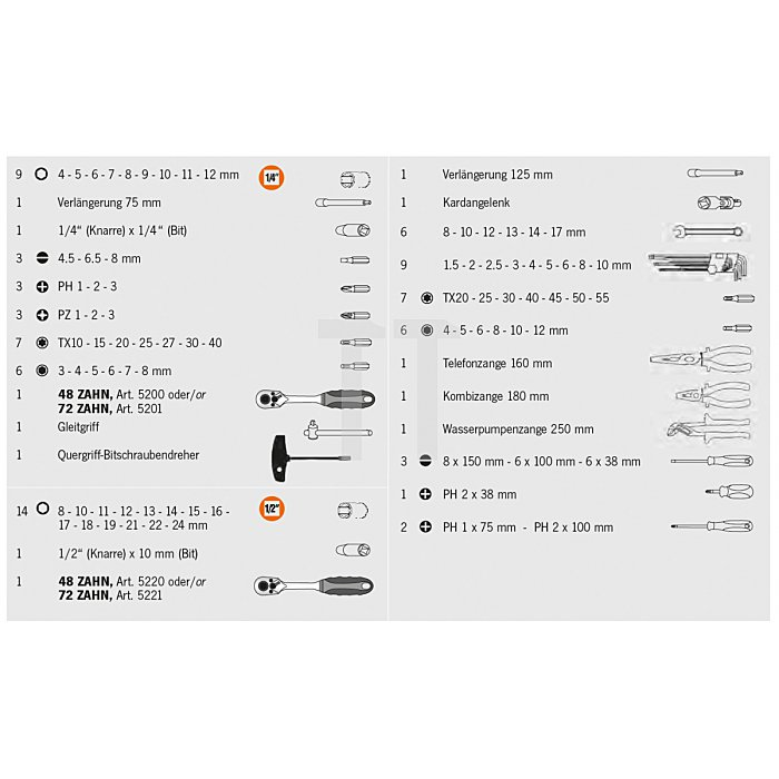 Projahn 1/4 Zoll + 1/2 Zoll proficraft Werkzeugsatz 91-tlg. 48 Zahn Knarren 8655
