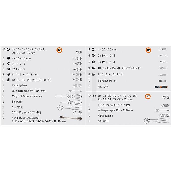 Projahn 1/4 Zoll + 1/2 Zoll Steckschlüssel-Satz 97-tlg. inkl. 4in1 Ratschenschlüssel 4036