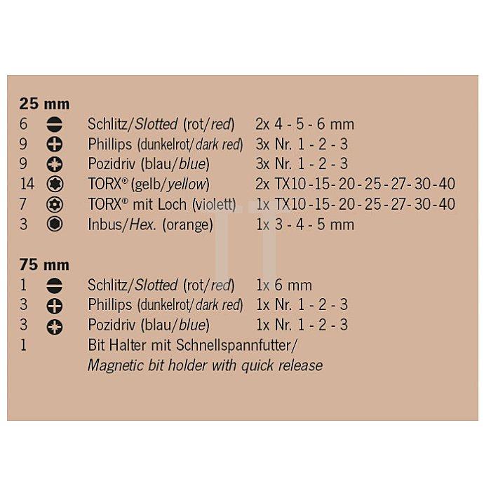 Projahn 1/4 Zoll Bit-Box mit markierten Bits 56-tlg. 4094