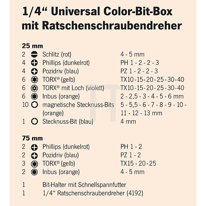 Projahn 1/4 Zoll Bit-Box mit markierten Bits 60-tlg. inkl. Ratschenschraubendreher mit Bitfach 4097