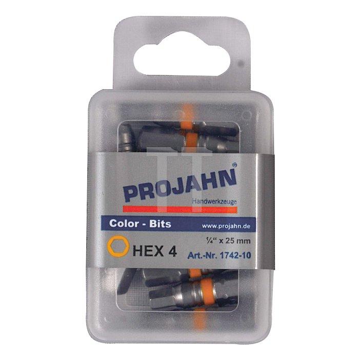 Projahn 1/4 Zoll markierter Bit L25mm Innen-6-kant 5mm 10er Pack 1743-10
