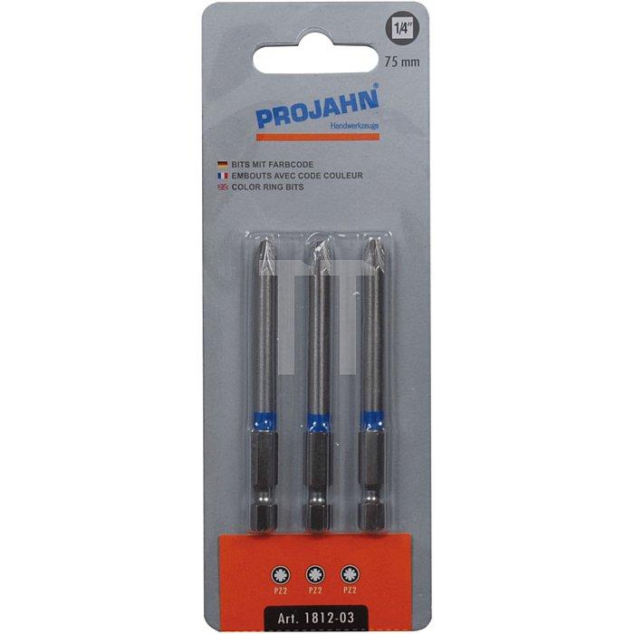 Projahn 1/4 Zoll markierter Bit L25mm Pozidriv Nr.1 3er Pack 1711-03