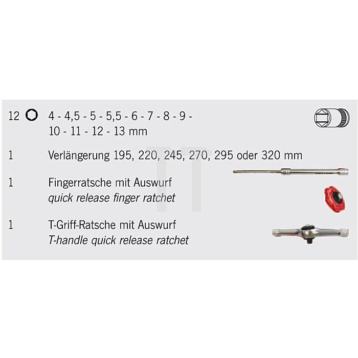Steckschlüssel-Satz mit Fingerratsche / 15-teilig - 4009