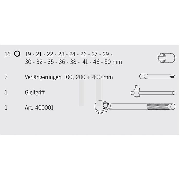 Projahn 3/4 Zoll Steckschlüssel Koffer 21-tlg. 2055