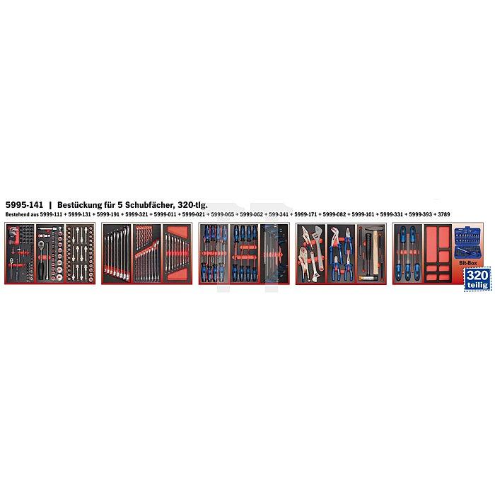 Projahn Bestückter Werkstattwagen BlackLine mit 7 Schubladen 320-tlg. & Seitenschrank 5901-243