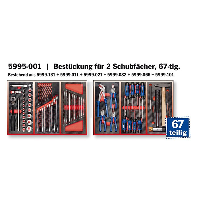 Projahn Bestückter Werkstattwagen RedLine mit 5 Schubladen 68-tlg. 5900-101