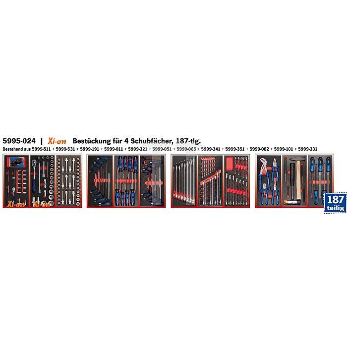 Projahn Bestückter Werkstattwagen RedLine mit 7 Schubladen 187-tlg. 5901-124