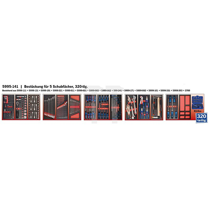 Projahn Bestückter Werkstattwagen Super Blue mit 7 Schubladen 320-tlg. 5901-541