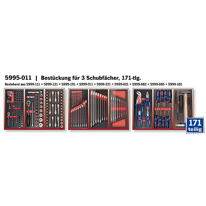 Projahn Bestückung für 3 Schubladen 171-tlg. 5995-011