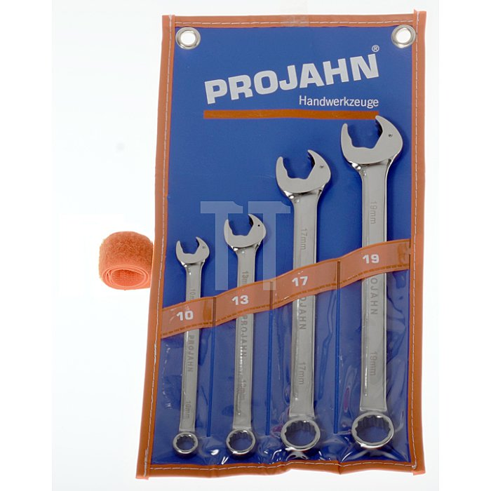 Projahn CLICKTECH-Ringgabelschlüssel mit Gabel-Ratschenfunktion Rolltasche-Satz 4-tlg. 10/13/17/19 4462