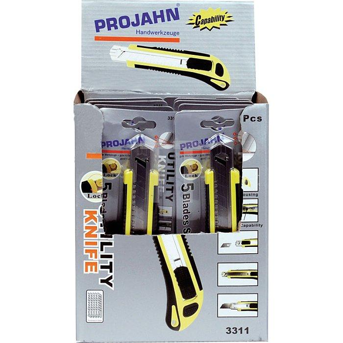 Projahn Display mit 12x Cuttermesser mit 18mm einziehbarer Klinge 331112