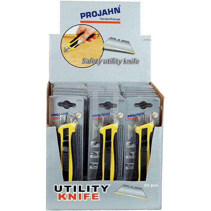 Projahn Display mit 24 x 3312 Sicherheits-Cuttermesser mit Trapezklinge 331224