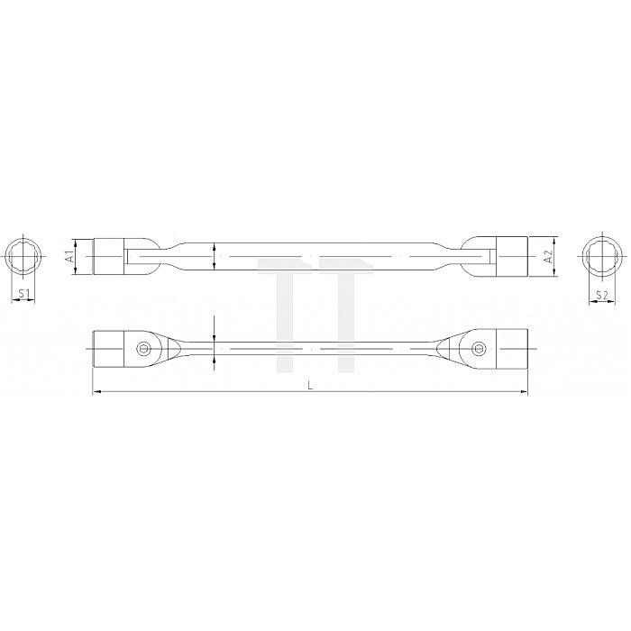 Projahn Doppelgelenk-Schlüssel 16x17mm 211617