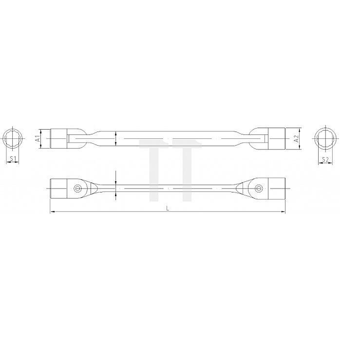 Projahn Doppelgelenk-Schlüssel 18x19mm 211819