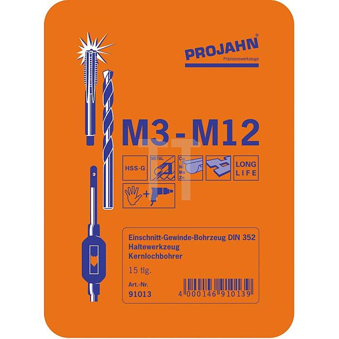 Projahn Einschnitt Gewinde Bohrzeugsatz HSS-G 15-tlg. M3-M12 91013