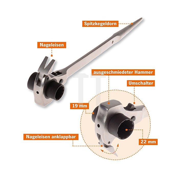 Projahn Gerüstbauerschlüssel 19 x 22mm mit Hammer & Nageleisen Funktion 2319221