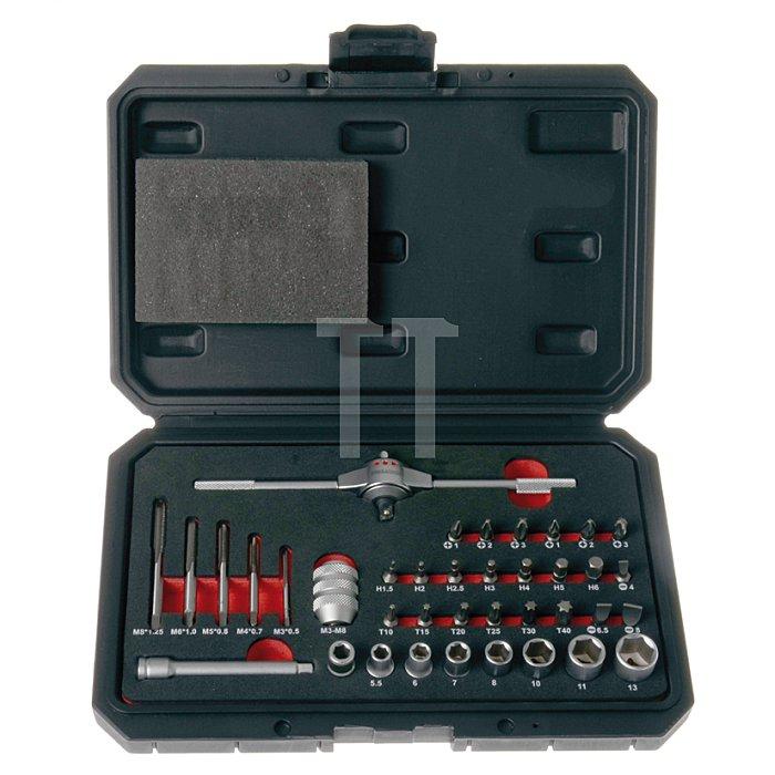 Projahn Gewinde-Bit-Set 38-tlg. M3-M8 mit T-Griff-Knarre & Stecknüssen 91014