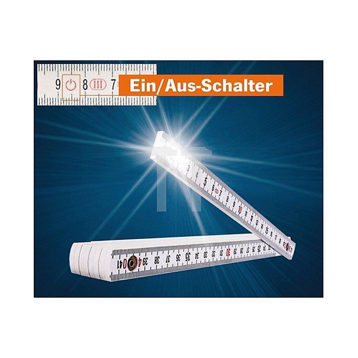 Projahn Gliedermassstab mit LED-Leuchte Kunststoff 2 m 2980