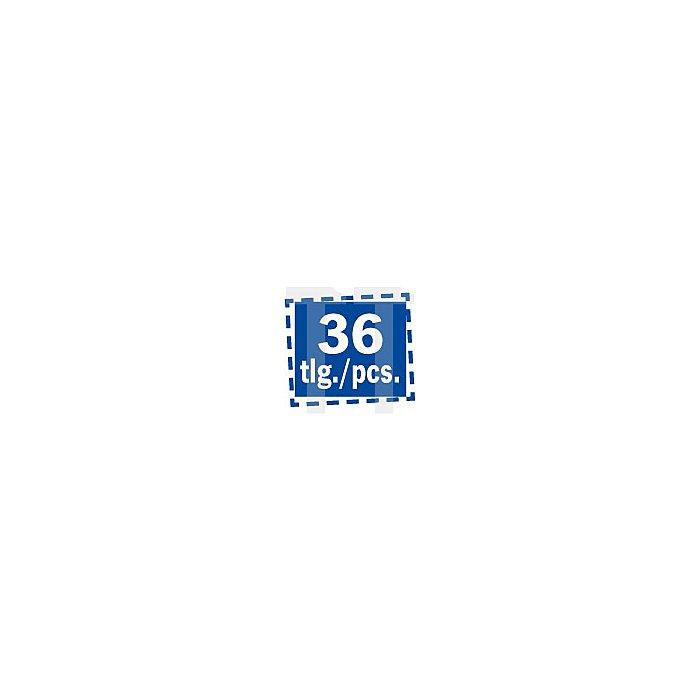 Projahn Kassette 1plus DIN 338 HSS-G 36-tlg. je 5 Stück: 2 - 25 - 3 - 35mm je 3 Stück: 4 - 45 - 5 - 55mm je 2 Stück: 6 - 65mm 60667