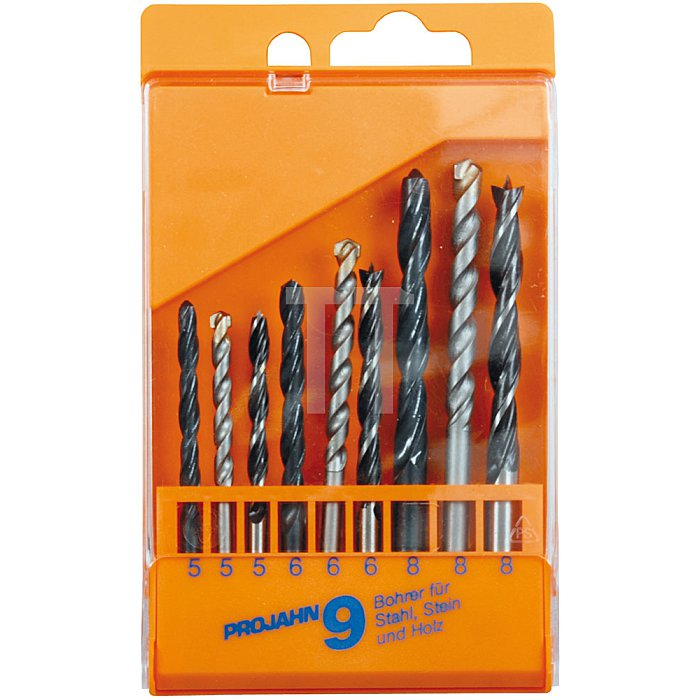 Projahn Kunststoffkassette Stahl/Stein/Holz 9-tlg. 5-8mm 67035