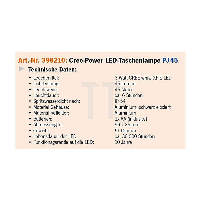 Projahn LED Hochleistungs-Taschenlampe PJ45 - 1AA 398210