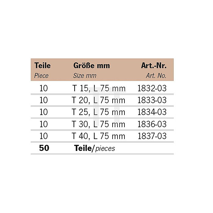Projahn Rack Color Bit TX 75mm 11812-73
