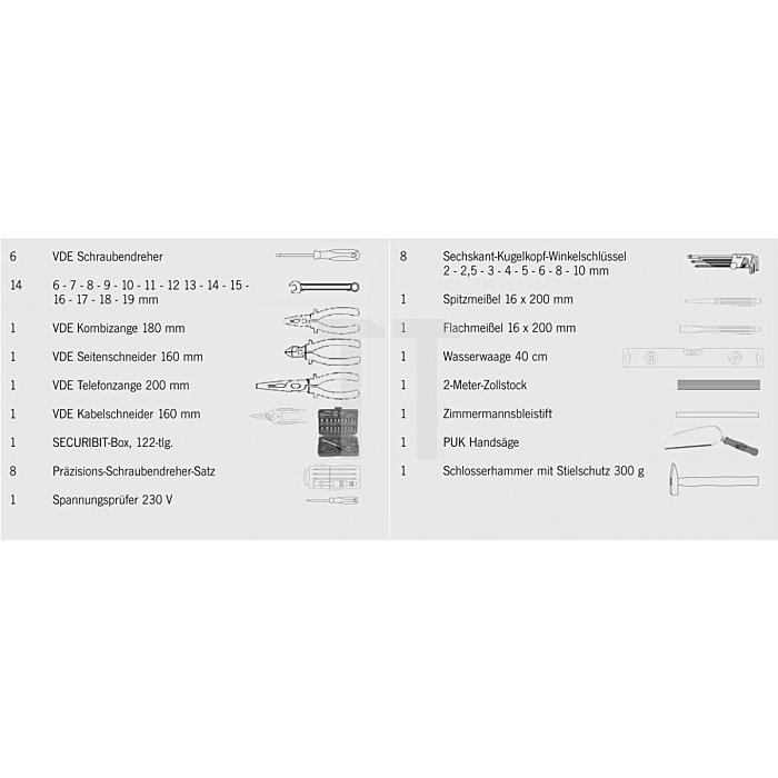 Projahn Werkzeugkoffer-Set Zoll Elektro Zoll 171-tlg. 9990