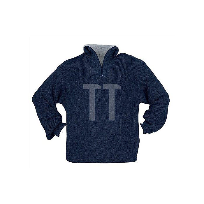 Pullover Gr.XXL blau Troyer m.Reißverschlusskragen Perlfangstrick