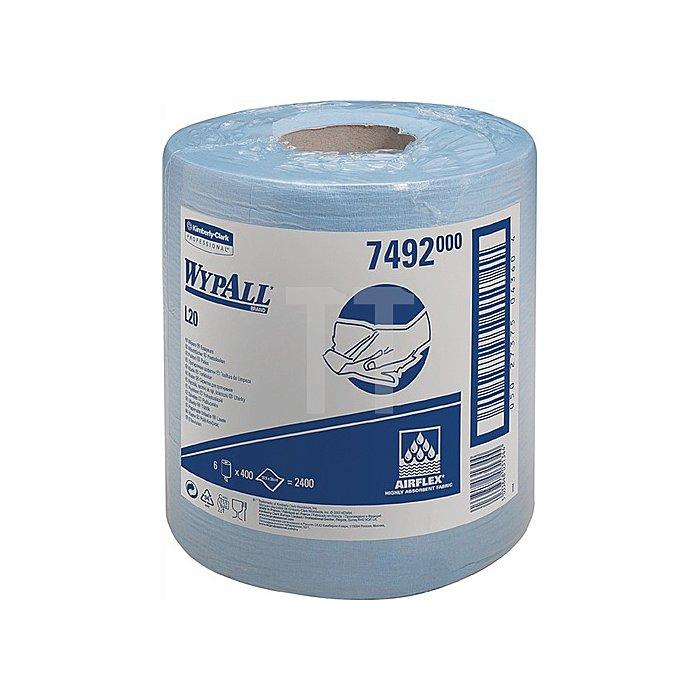 Putztuch Wypall L20-7492 blau 1lagig L.380xB.185mm 400 Abrisse