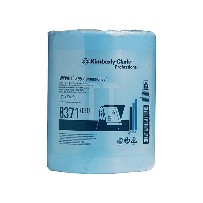 Putztuch Wypall X60-8371 L.380xB.310mm blau perforiert 500Abrisse