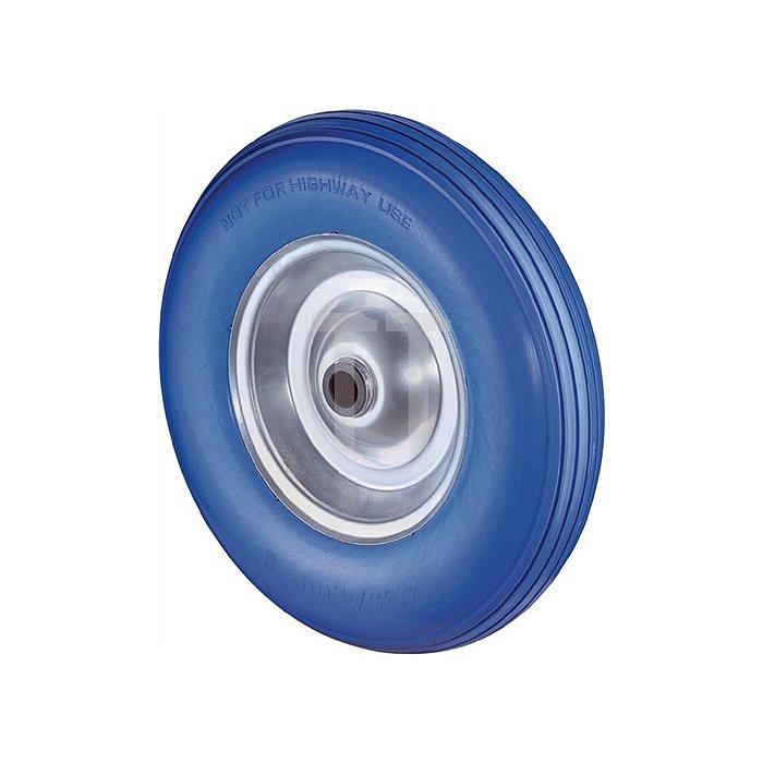 Rad C91.400 D.400mm Trgf.200kg Naben-L.75mm Rad Stahlfelge PU-Reifen blau