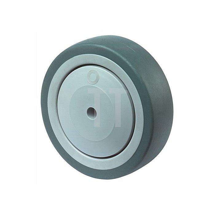 Rad D.80mm Tragkraft 80kg Gummirad grau Nabenlänge 37mm