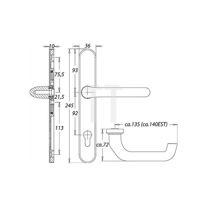 Rahmen-Drückergarnitur Kronos 1300/035 VK 8mm Entfernung 92 PZ Alu F12