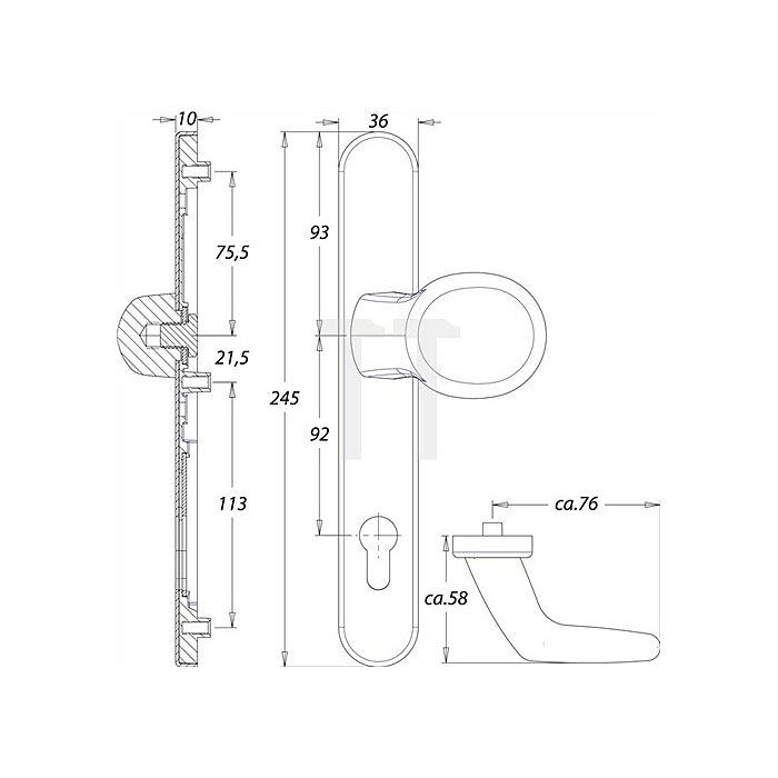 Rahmen-Wechselgarnitur Kronos 1300/K2/045 VK 8mm Entfernung 92 PZ ZA Alu F1