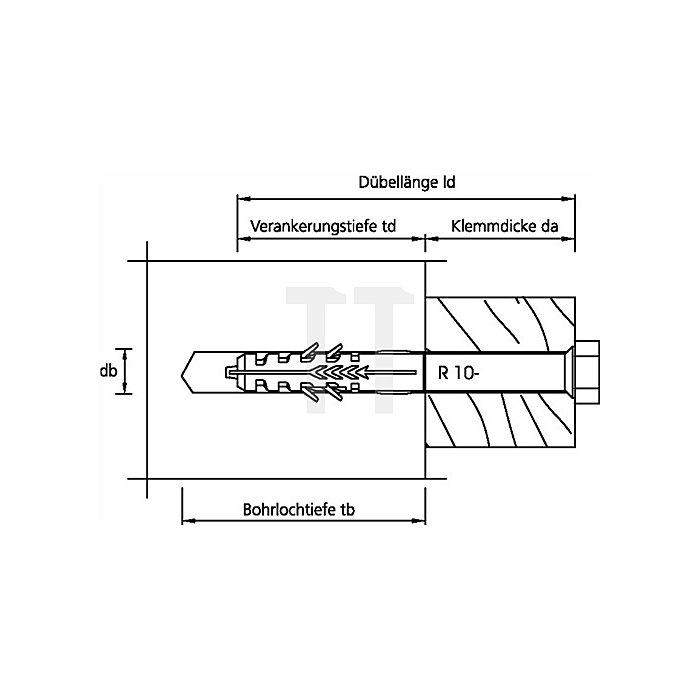 Rahmendübel R 10-160 Senkbunddübel für Vollbaustoffe (Beton und MW)
