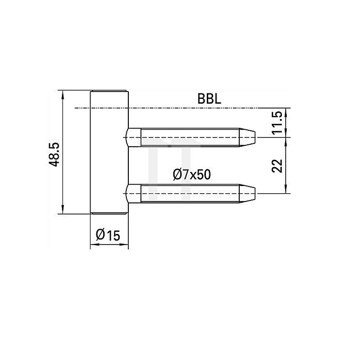 Rahmenteil V 4400 WF ER Rollenlänge 48,5mm Rollen-D. 15mm VA matt gebürstet