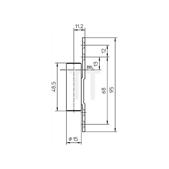 Rahmenteil V 8000 ER WF ASR D.15mm VA matt z.Anschrauben