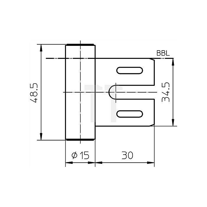 Rahmenteil V 8000 WF ER Rollenlänge 48,5mm Rollen-D. 15mm VA matt gebürstet