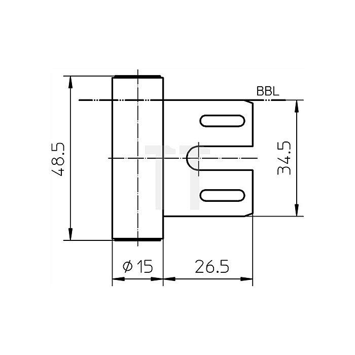 Rahmenteil V 8000 WF Rollenlänge 48,5mm Rollendurchmesser 15mm Stahl vernickelt