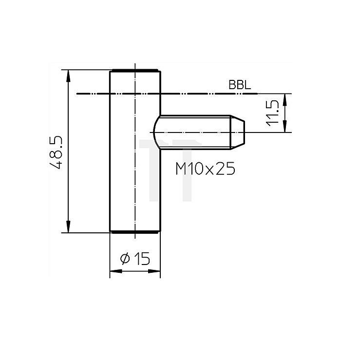 Rahmenteil V 8000 WF U D.15mm Stahl vernickelt z.Anbohren