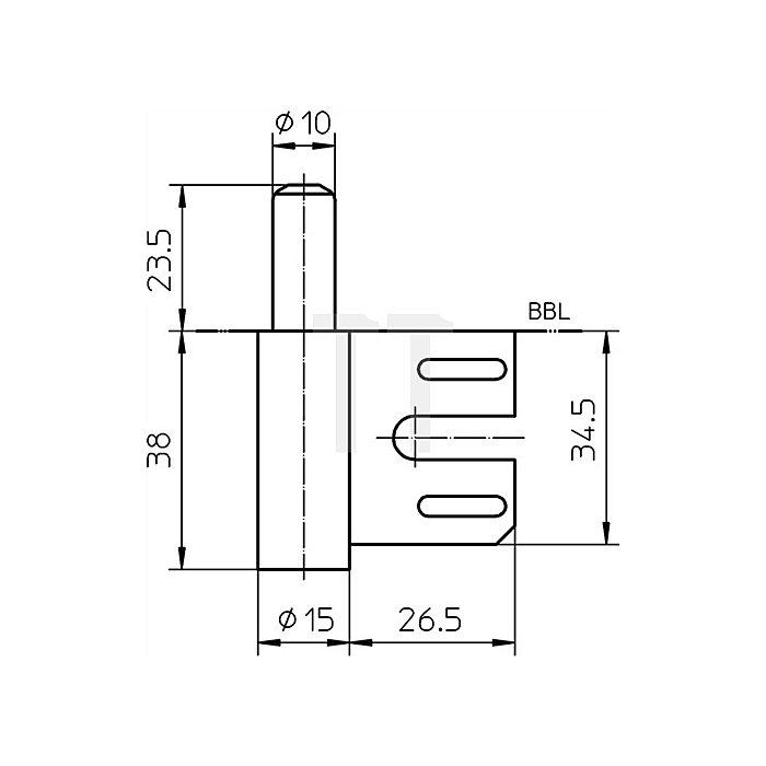 Rahmenteil V 8100 Bandlänge 38mm Rollendurchmesser 15mm Stahl vernickelt VE