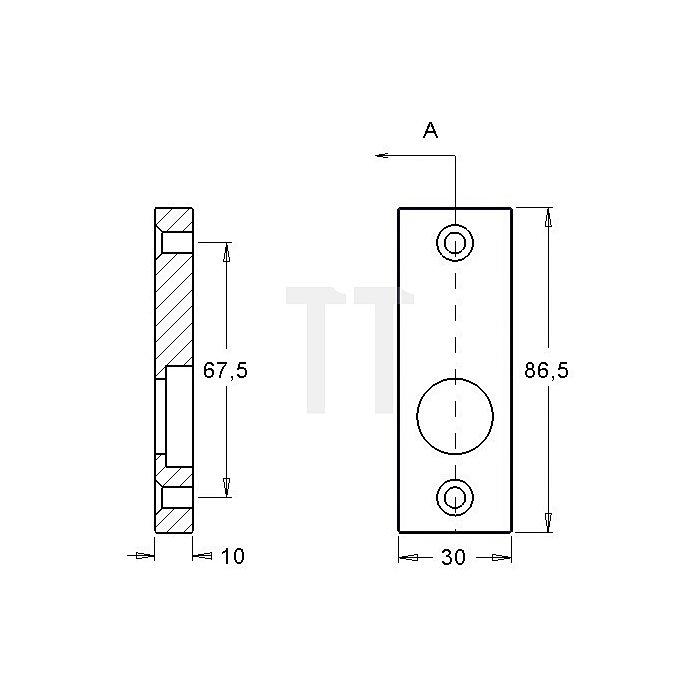 Rahmentür-Drückerrosette 357 massiv asymetrisch kantig 10mm Alu F1 natur
