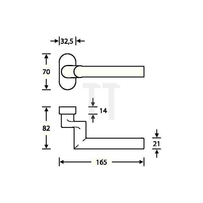 Rahmentürdrücker 06 1076 VK 8mm Alu.EV 1 ovale Rosette gekröpft