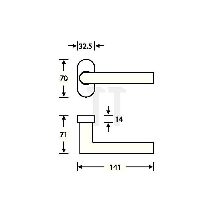 Rahmentürdrücker 1076 VK 9mm VA feinmatt 6204 ovale Rosette